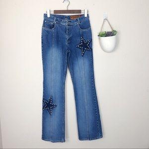 •LAWMAN• Vtg Western Star Studded High Rise Jeans